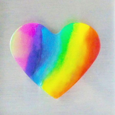 Rainbow heart resin artwork