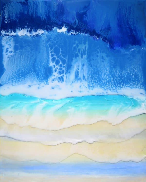 Rising waves resin painting